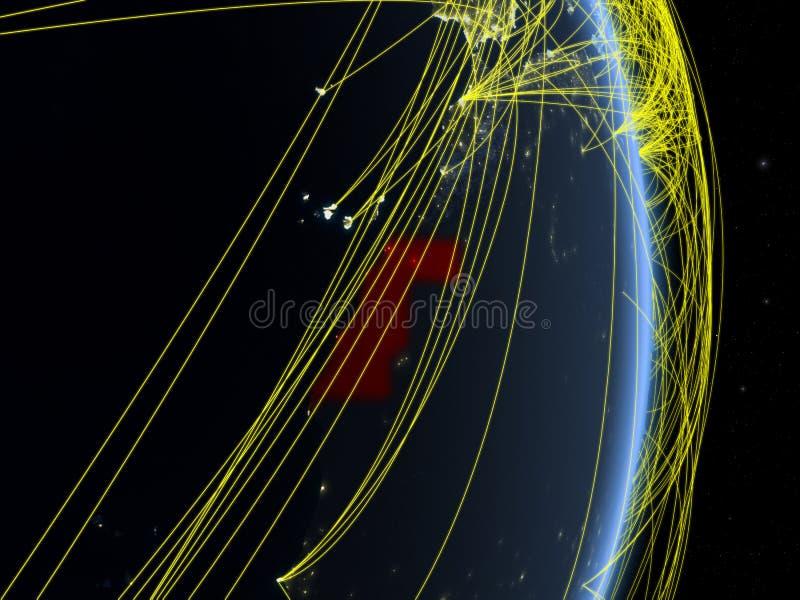 La Sahara occidental la nuit sur terre de planète de planète avec le réseau Concept de connectivité, voyage et communication illu illustration de vecteur