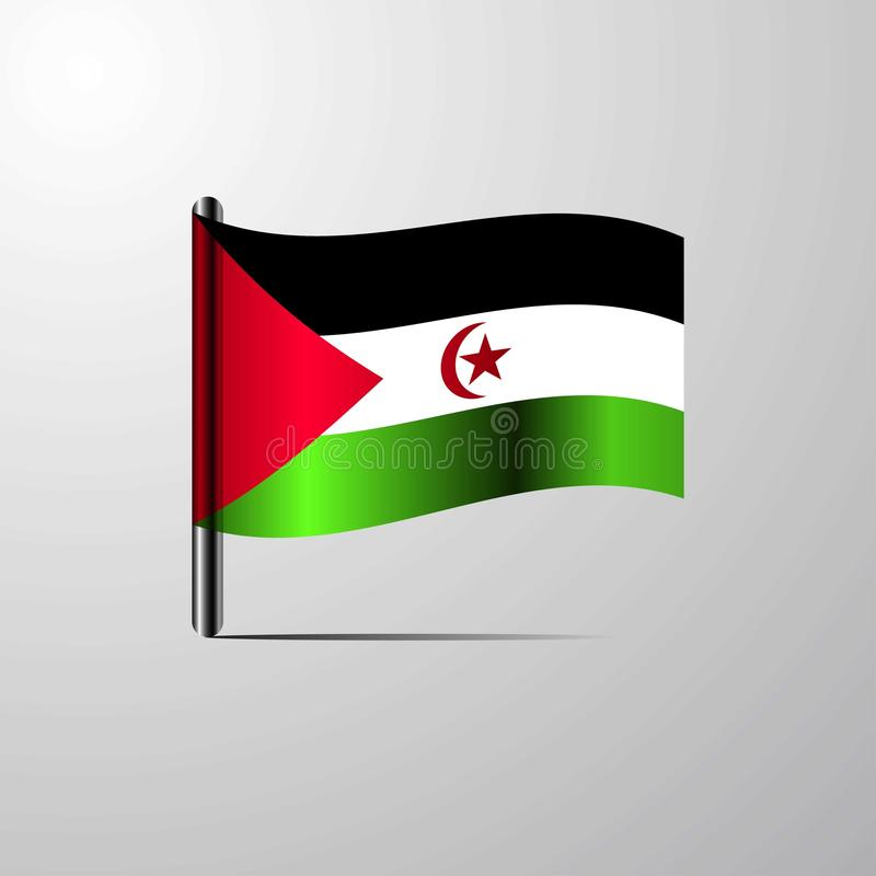 La Sahara occidental ondulant le vecteur brillant de conception de drapeau illustration stock