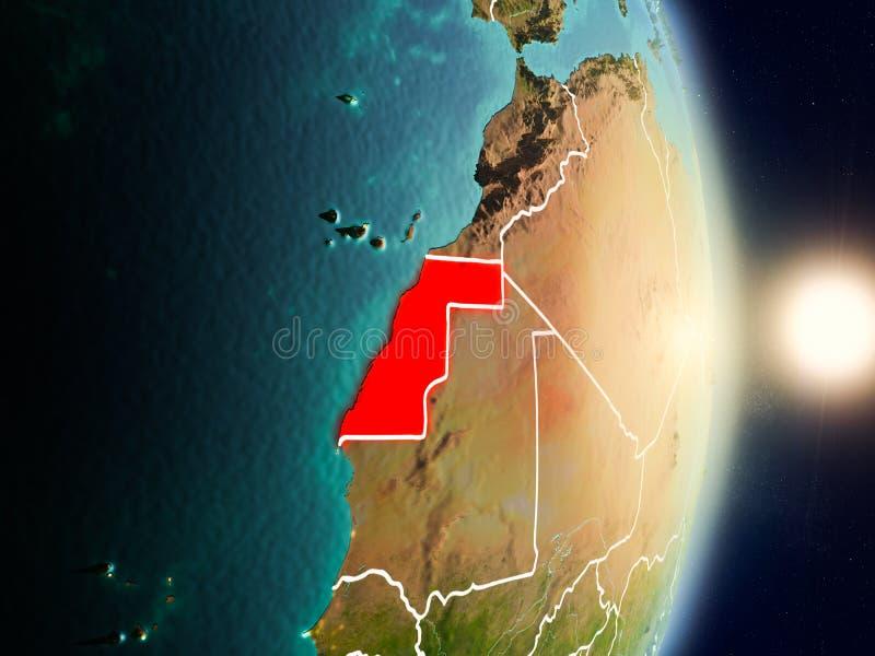 La Sahara occidental pendant le lever de soleil illustration de vecteur