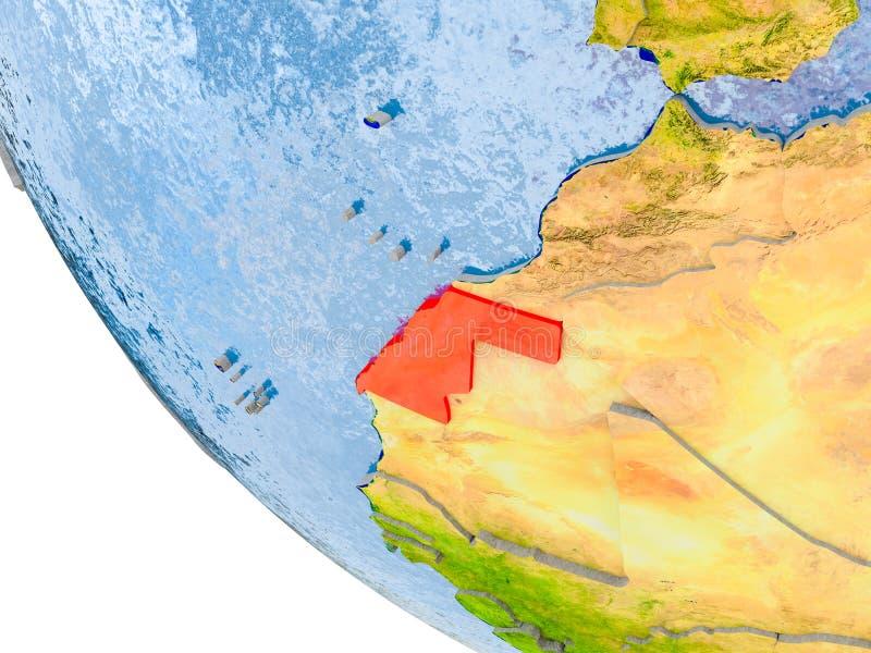 La Sahara occidental sur le globe illustration de vecteur