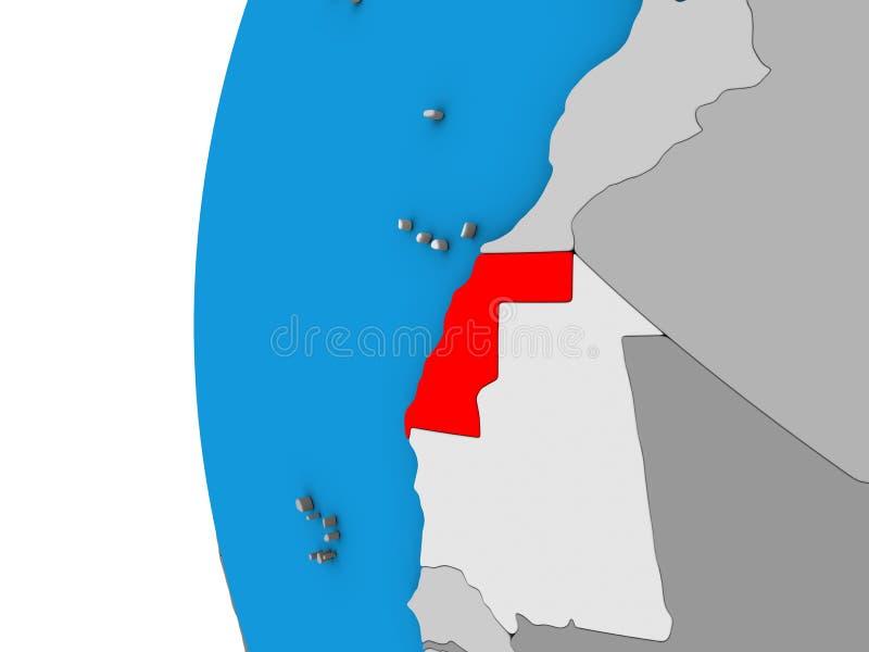 La Sahara occidental sur le globe 3D illustration de vecteur