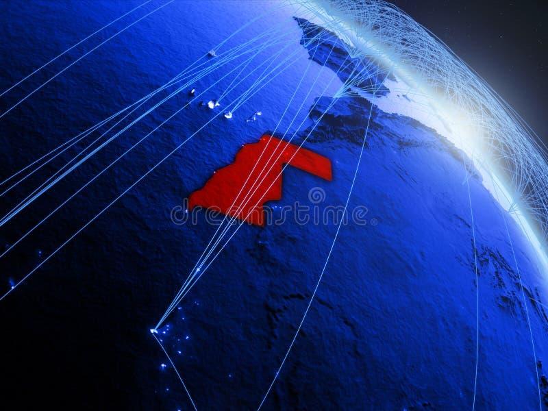 La Sahara occidental sur le globe numérique bleu bleu illustration stock