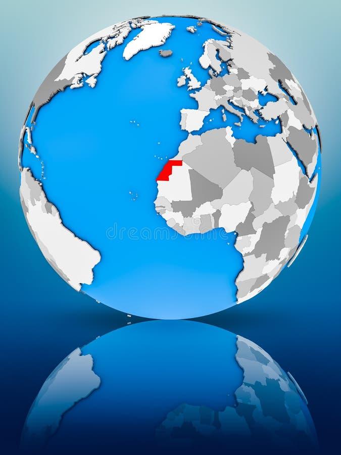 La Sahara occidental sur le globe politique photos stock