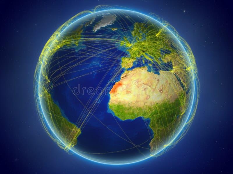 La Sahara occidental sur terre avec des réseaux illustration de vecteur