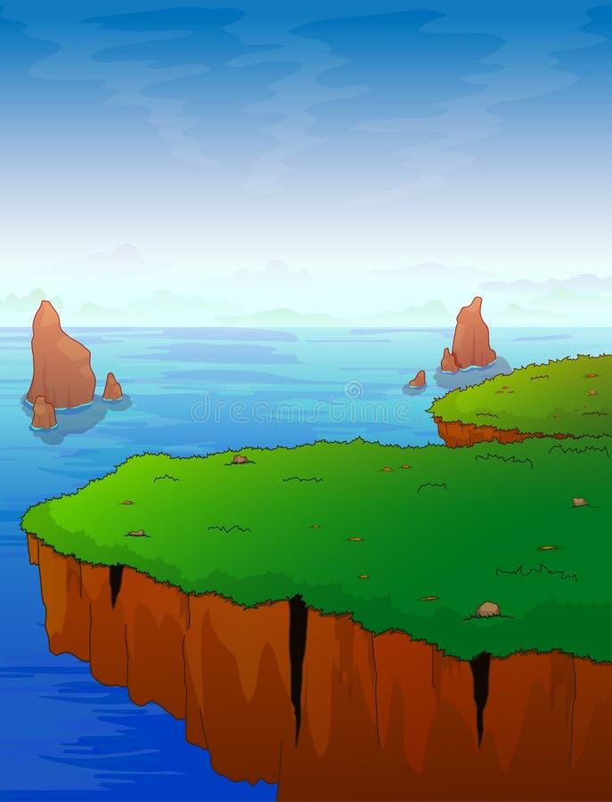 La saillie de montagne dans la perspective de la mer illustration stock