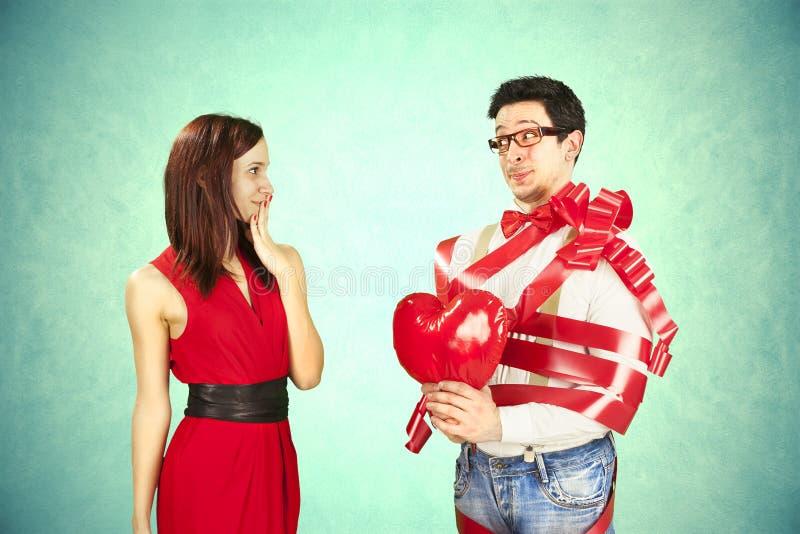 La Saint-Valentin drôle, série d'approche différente agit photo stock