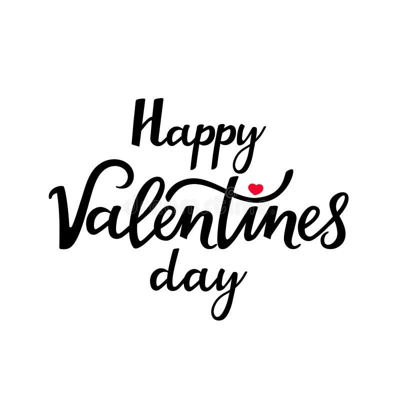 La Saint-Valentin heureuse est un beau texte manuscrit pour une affiche de fête, une carte de voeux pour votre aimé illustration libre de droits