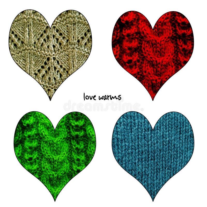 La Saint-Valentin heureuse a tricoté des coeurs réglés illustration de vecteur