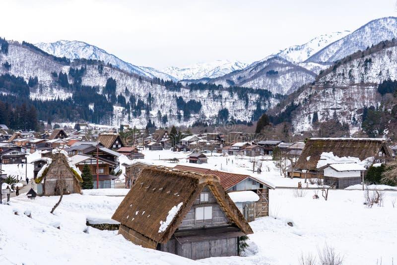 La saison d'hiver à Shirakawa-vont village, Gifu, Japon photographie stock libre de droits