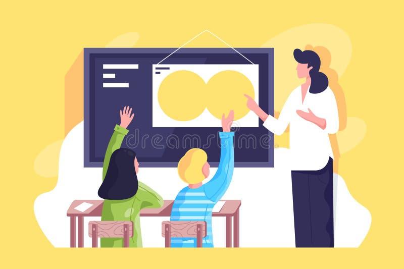 La sala de clase plana con el profesor de la mujer joven y los alumnos dan para arriba stock de ilustración