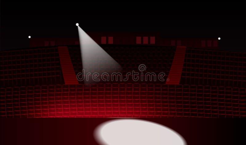 La sala de conciertos, las filas del cine o los asientos rojos del teatro efectúan la visión libre illustration
