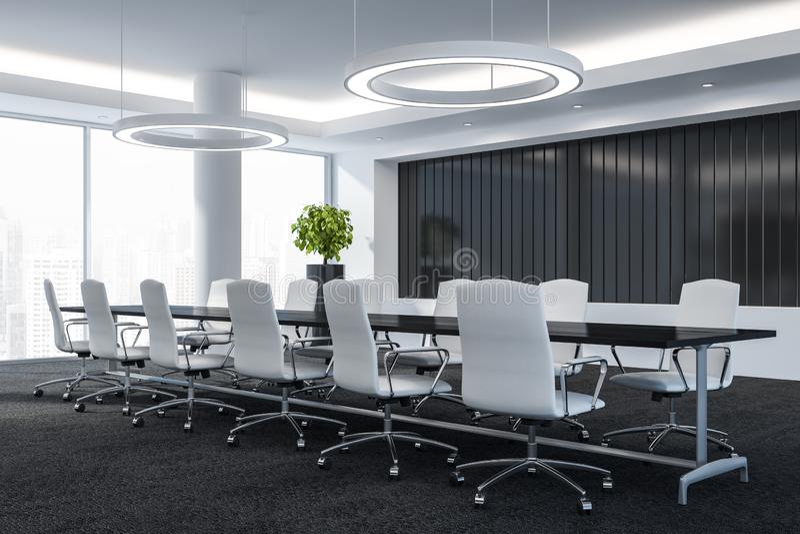 La sala de conferencias moderna con muebles, las ventanas grandes y la opinión 3D de la ciudad rinden el concepto de éxito libre illustration
