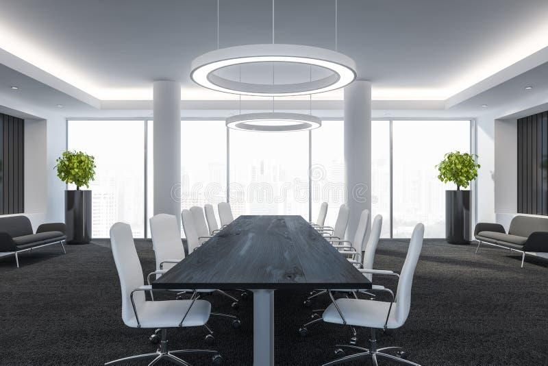 La sala de conferencias moderna con la tabla del embarque, las ventanas grandes y la opinión 3D de la ciudad rinden stock de ilustración