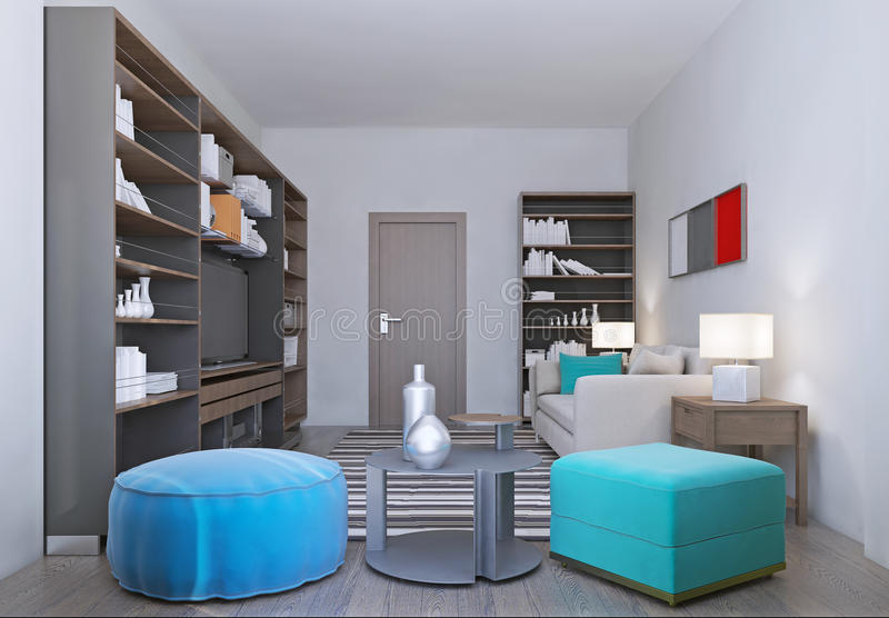 La sala de estar acogedora adentro relaja colores libre illustration