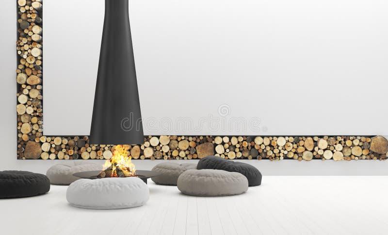 La sala de estar blanca espaciosa con la chimenea moderna, gandulea es foto de archivo