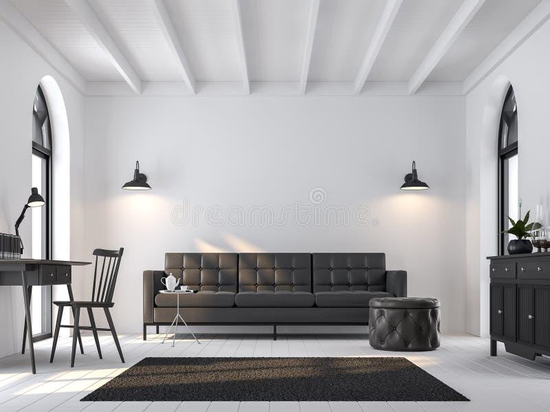 La sala de estar escandinava 3d rinde, suministrado con muebles negros stock de ilustración