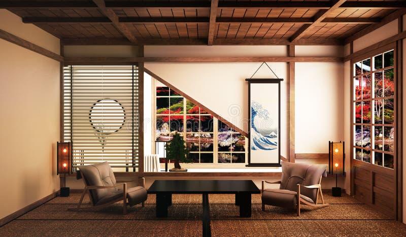 La sala de estar hermosa con la tabla baja, brazo preside, estilo japonés y bosque Japón del árbol de los bonsais y de la decorac libre illustration