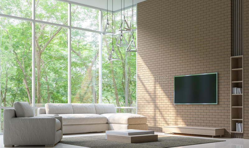 La sala de estar moderna adorna la pared con imagen de la representación del modelo 3d del ladrillo libre illustration