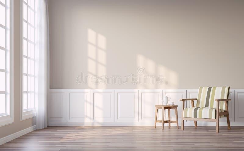 La sala de estar moderna del vintage con la pared marrón clara 3d rinde libre illustration