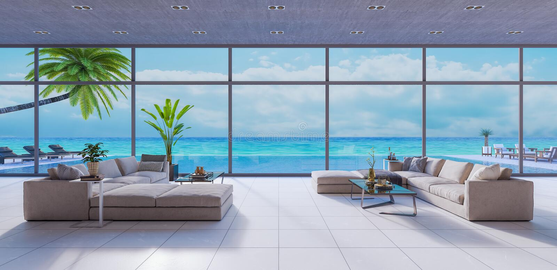 La sala de estar moderna, el diseño interior 3D rinde libre illustration