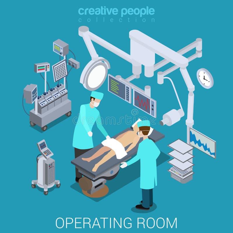 La sala de operaciones del hospital cuida el vector plano paciente 3d isométrico stock de ilustración