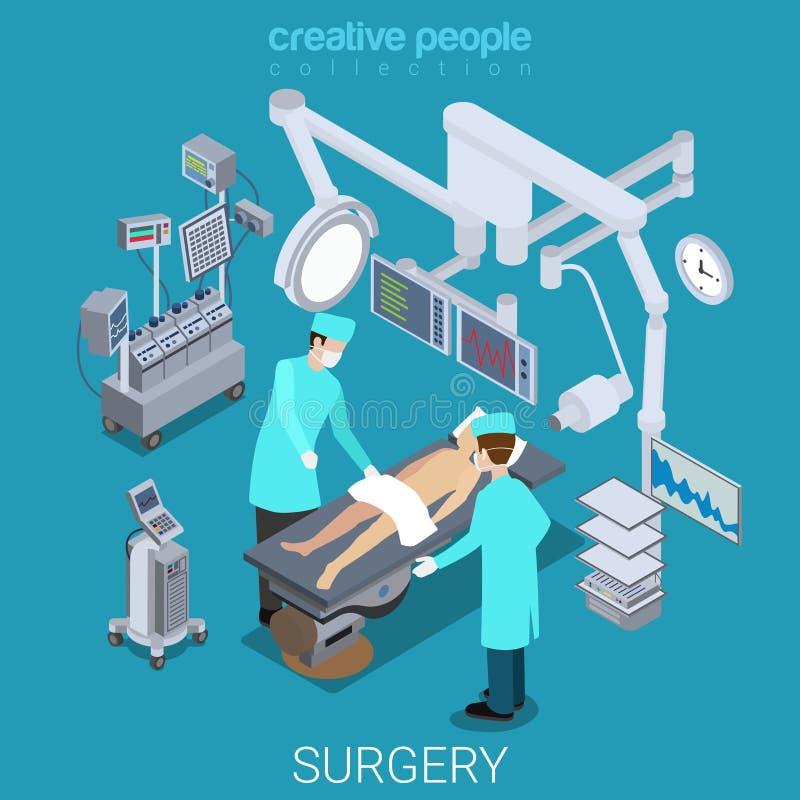 La sala de operaciones del hospital cuida el vector plano paciente 3d isométrico libre illustration