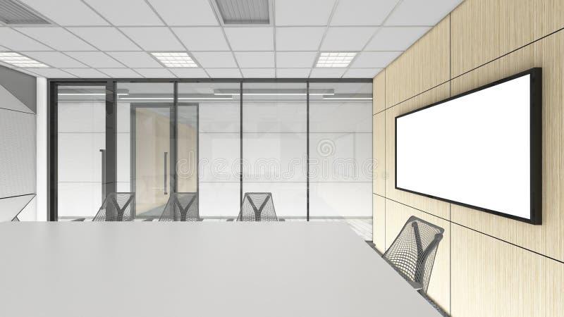 La sala de reunión vacía en la oficina corporativa, 3d rinde el desig interior ilustración del vector