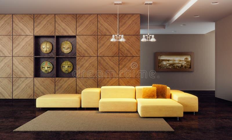 La sala di lusso 3d del salotto rende illustrazione di stock