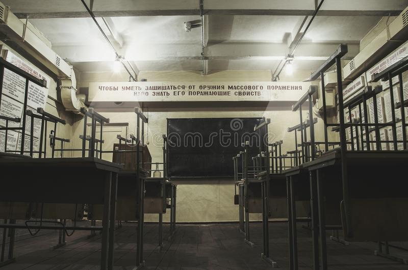 La sala di montaggio di vecchio rifugio antiaereo fotografia stock libera da diritti
