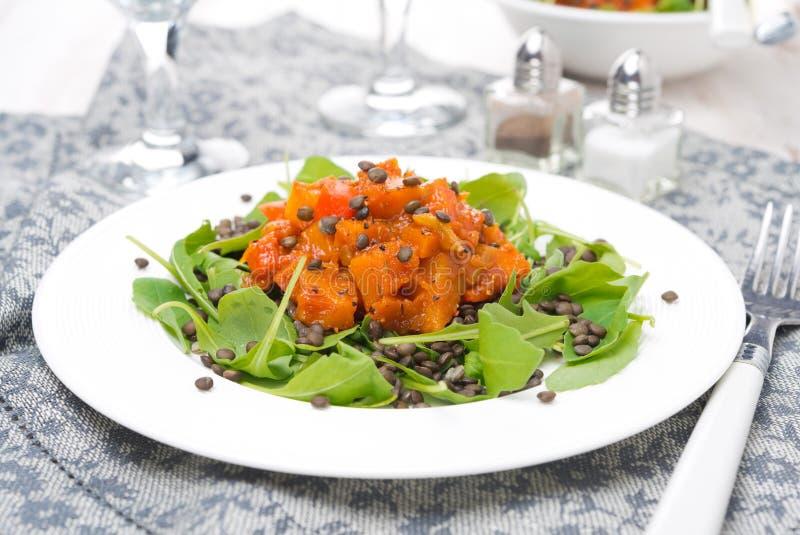 La salade avec l'arugula, les lentilles noires et le légume cuisent d'un plat photographie stock