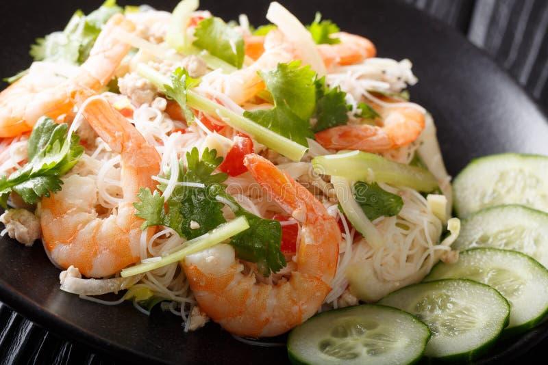 La salade thaïlandaise Yum Woon Sen de nouille a servi avec le plan rapproché frais de concombres d'un plat horizontal image stock