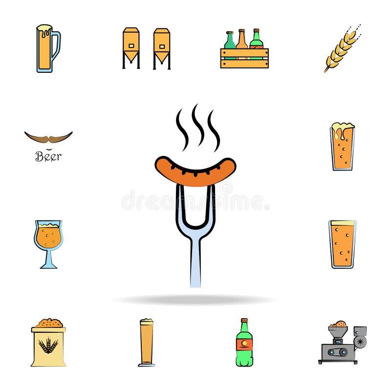 la salchicha en la bifurcación coloreó el icono del estilo del bosquejo Sistema detallado de iconos dibujados del estilo de la ce stock de ilustración