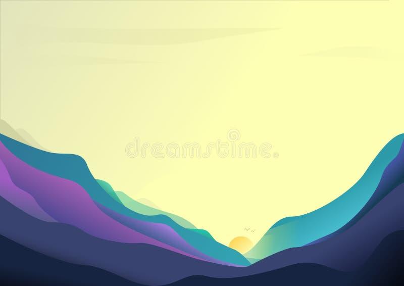 La salida del sol surrealista tranquila unset el valle del paisaje con los pájaros stock de ilustración