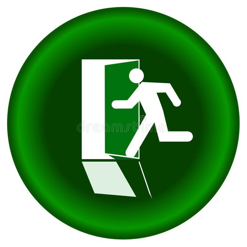 La salida redonda de la muestra de la silueta humana hacia fuera pone verde la puerta en el fondo blanco stock de ilustración