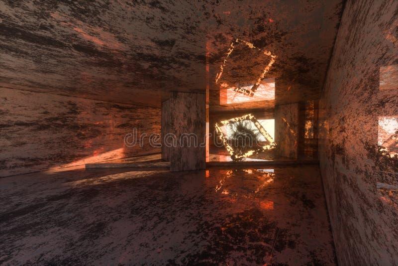 La salle abandonnée sombre, construction architecturale créative, rendu 3d illustration stock