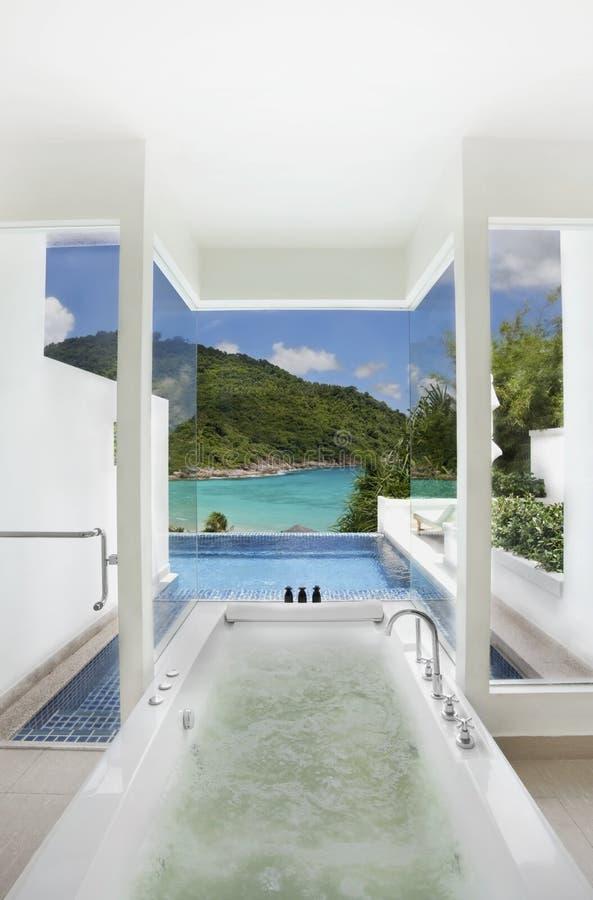 la salle de bains clôture la vue de luxe de natation de mer de regroupement image libre de droits