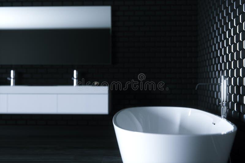La salle de bains de minimalisme dans l'intérieur noir 3D rendent la fin de la version 3 illustration de vecteur