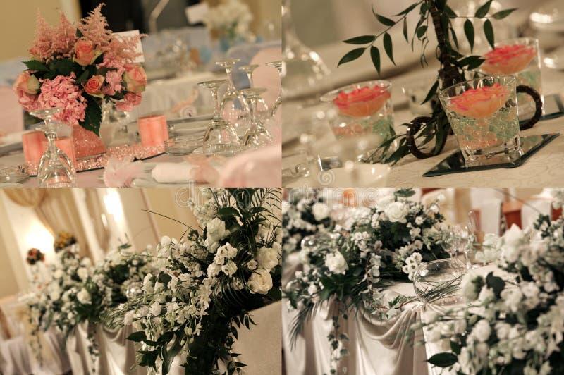 La salle de bal de mariage, multicam, grille, écran s'est dédoublée dans quatre parts image stock