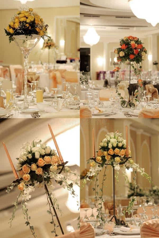 La salle de bal de mariage, multicam, grille, écran s'est dédoublée dans quatre parts photo stock