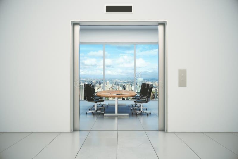 La salle de conférence avec la vue de ville est apparue du doo d'ascenseur illustration stock