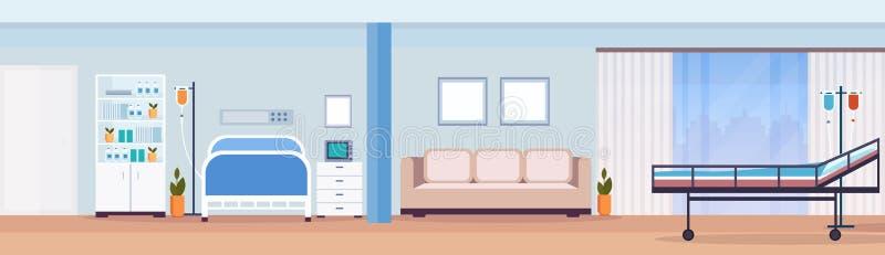 La salle patiente de thérapie intensive intérieure de chambre d'hôpital avec le lit médical de soin infirmier d'outils ne vident  illustration libre de droits