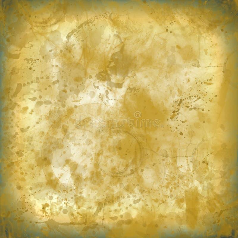 La salpicadura manchó el viejo fondo de papel de la textura gastada amarilla ningún i stock de ilustración