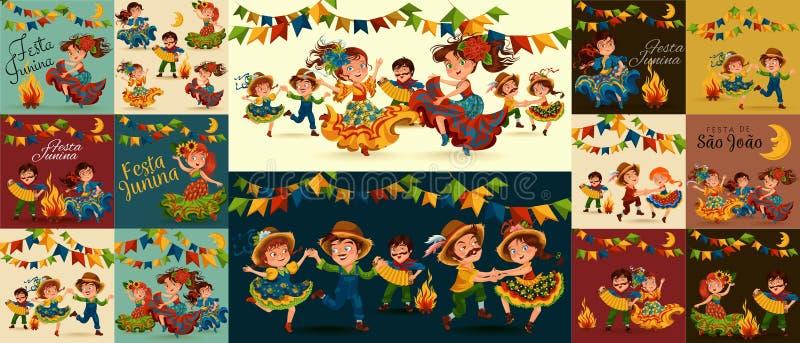 La salsa del baile de la mujer joven en festivales celebró en Portugal Festa de Sao Joao, juego del hombre en sanfona cerca de la ilustración del vector