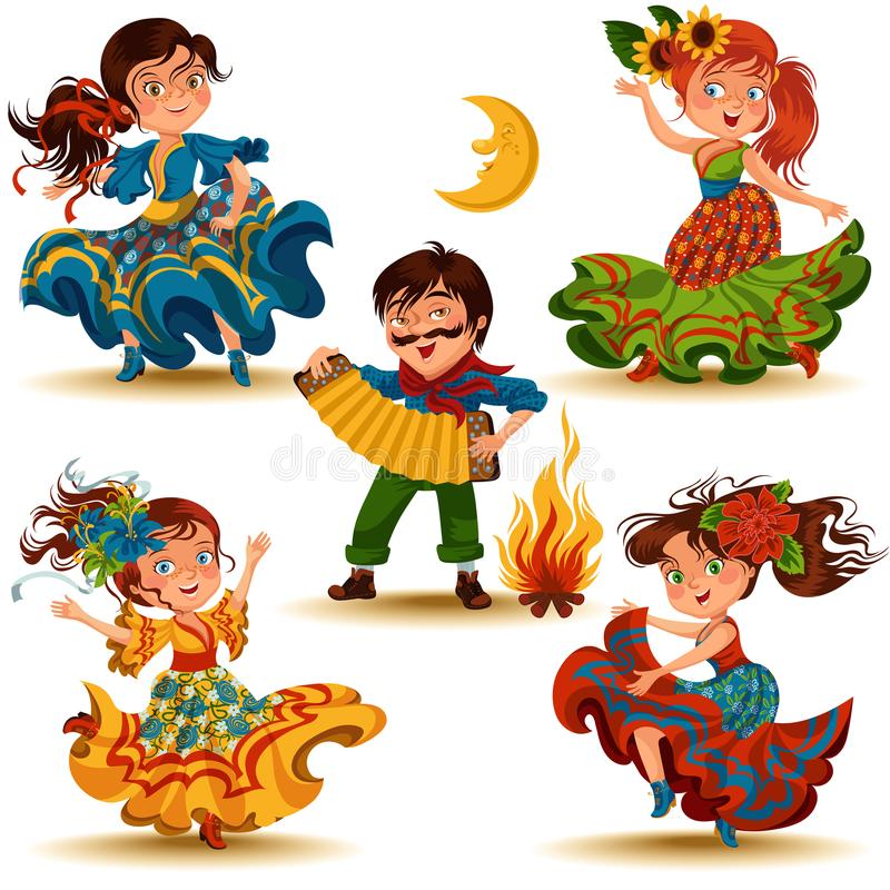 La salsa di dancing della giovane donna sui festival dell'estate ha celebrato nel Brasile Festa Junina, ragazza nella festa tradi illustrazione vettoriale