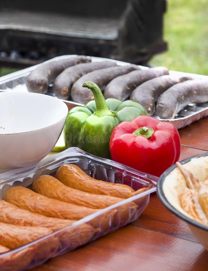La salsiccia, il budino e la carne di pollo cruda in spezie è in una ciotola fotografie stock libere da diritti