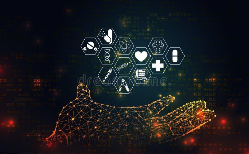 La salud de la ciencia abstracta médica consiste icono del wireframe de la mano cura libre illustration