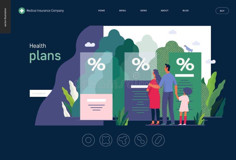 La salud planea - la plantilla del seguro médico ilustración del vector