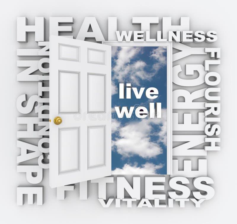 La salud redacta la vida de la forma de la salud de la aptitud de la puerta sana stock de ilustración