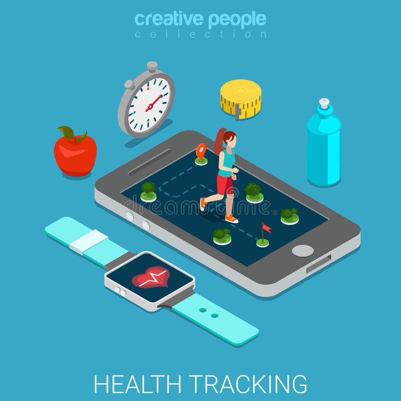 La salute che segue il telefono della tecnologia esegue il vettore 3d piano isometrico illustrazione di stock