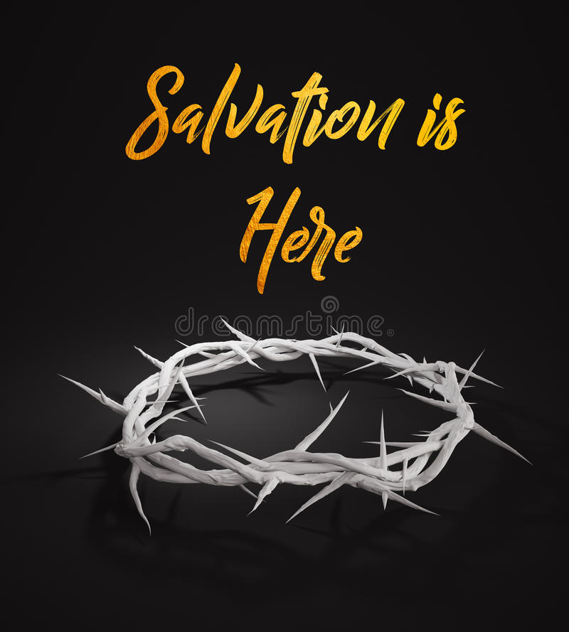 La salvación está aquí corona de las espinas 3D que rinden el fondo oscuro stock de ilustración
